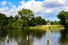 Hyde Park, one of the largest parks in London. LONDON, ENGLAND - JULY 23, 2016: Nature of the Hyde Park, one of the largest parks in London, and one of the Royal Stock Photo