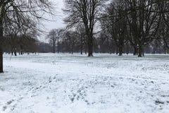 Hyde Park snow. Snow in Hyde Park London Stock Photos