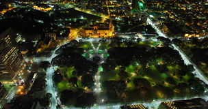 Hyde Park Sydney aerial at night. Aerial image by night showing the illuminated Hyde Park with St Mary's cathedral. Picture taken from the Sydney Tower Eye Royalty Free Stock Image