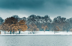 Hyde Park in Winter. Stormy skies and snow on the ground in Hyde Park, London Stock Photography