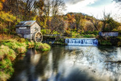 Hyde's Mill. An autumn scene in southwestern Wisconsin featuring the historic Hyde's Mill stock image