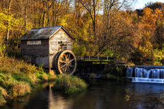 Hyde's Mill. An autumn scene in southwestern Wisconsin featuring the historic Hyde's Mill stock photography