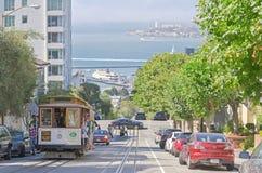 Hyde Street die Alcatraz-Eiland, San Francisco, de V.S. overzien royalty-vrije stock foto