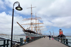 Hyde Street Pier in Fisherman's Wharf in San Francisco - CA. SAN FRANCISCO - MAY 17 2015:Hyde Street Pier in Fisherman's Wharf.Various historical ships are stock photo