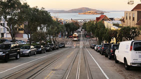 Hyde street in San Francisco, CA. View of Hyde street with cable car and Alcatraz in background, San Francisco Stock Photos