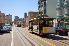 Hyde street view and San Francisco tram in summer. San Francisco, USA Royalty Free Stock Photo