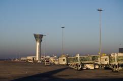 Hyderabad Airport, India. HYDERABAD, ANDHRA PRADESH, INDIA - JANUARY 13: Early morning sunlight illuminates Rajiv Gandhi International Airport in Hyderabad Royalty Free Stock Image