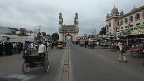 Hyderabad, Andhra:Traffic near Char Minar in the evening on September 15th 2011 Royalty Free Stock Image