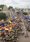 Traffic - bird-view crowded city in India Royalty Free Stock Photo