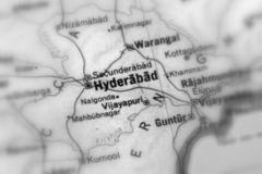Hyderabad, a city in India. Hyderabad, a city in the Republic of India selective black and white focus stock photography