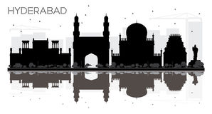 Hyderabad City skyline black and white silhouette with reflections. royalty free illustration
