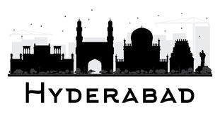 Hyderabad City skyline black and white silhouette. Royalty Free Stock Image