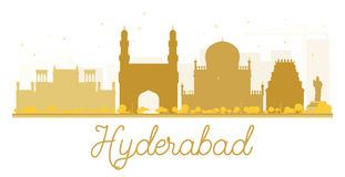 Hyderabad City skyline golden silhouette. Royalty Free Stock Photography