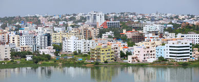 Hyderabad cityscape. HYDERABAD INDIA - August 29 : Hyderabad is fifth largest contributor city to India's GDP with US$74 billion . On August 29,2012 Hyderabad stock photos
