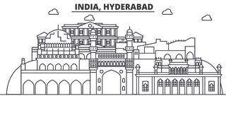 Hyderabad, India architecture line skyline illustration. Linear vector cityscape with famous landmarks, city sights Stock Photos