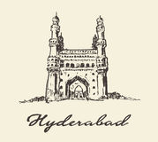 Hyderabad India Charminar vector drawn sketch Stock Image