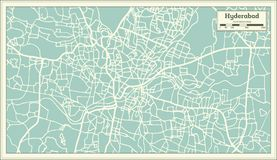 Hyderabad India City Map in Retro Style. Outline Map. stock illustration