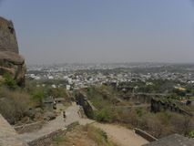 Hyderabad, India - January 1, 2009 View of Hyderabad city from the top of Golconda fort royalty free stock photo
