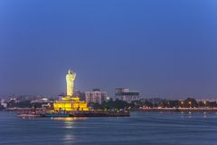 Hussain Sagar - Hyderabad - India. Monolithic statue of the Gautam Buddha in the middle of the lake Hussain Sagar, Hyderabad, India stock image