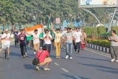 Hyderabad 10K kör händelsen, Telangana, Indien Royaltyfri Fotografi