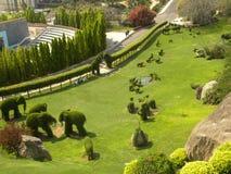 Hyderabad, la India - 1 de enero de 2009 visión superior de jardín del Topiary en la ciudad de la película de Ramoji Fotografía de archivo libre de regalías