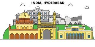 Hyderabad, la India, Hinduismo Horizonte de la ciudad, arquitectura, edificios, calles, silueta, paisaje, panorama, señales ilustración del vector