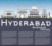 Hyderabad Skyline with Gray Landmarks, Blue Sky and Copy Space. Royalty Free Stock Photo