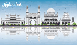 Hyderabad Skyline with Gray Landmarks, Blue Sky and Reflections. Stock Image