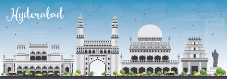 Hyderabad Skyline with Gray Landmarks and Blue Sky. Royalty Free Stock Photos