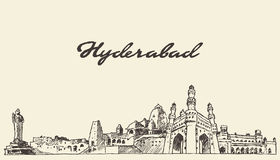 Hyderabad skyline vector illustration drawn sketch Royalty Free Stock Photos