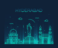 Hyderabad skyline vector illustration linear Royalty Free Stock Photography