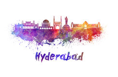 Hyderabad skyline in watercolor Royalty Free Stock Photo