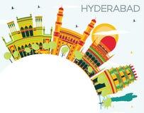 Hyderabad stadshorisont med färgbyggnader och kopieringsutrymme
