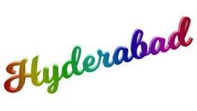 Hyderabad-Stadt-Name kalligraphisches 3D machte Text-Illustration gefärbt mit RGB-Regenbogen-Steigung Lizenzfreie Stockfotografie