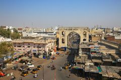Hyderabad town entrance before de Charming monument Royalty Free Stock Images
