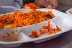 Hyderabadi Biryani Il briyani del pollo è famoso in tutta l'India immagini stock