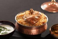 Hyderabadi Biryani - uma galinha ou uma carne de carneiro popular basearam Biryani Fotografia de Stock Royalty Free