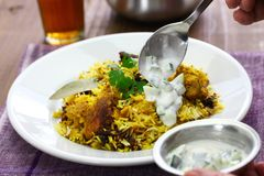 Hyderabadi chicken biryani. Indian cuisine royalty free stock photography