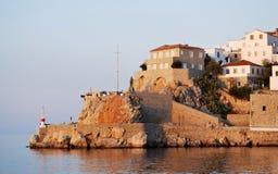 Hydraö, Grekland på skymningen Arkivfoton