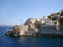 Hydra bastions with cannons Royalty Free Stock Images