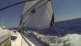 HYDRA, GREECE - Sailors participate in sailing regatta stock video footage