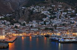 Night view of Hydra island, argosaronic gulf stock image