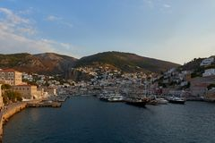View of Hydra harbor and town stock image