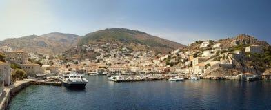 Hydra harbor, Greece. The harbor of the main city of Hydra Island, Greece stock photo