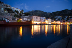 Hydra harbour. Night shot of Hydra harbour in Greece Stock Photo