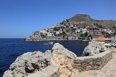 Hydra Island in Greece. Beautiful Hydra is one of the Saronic Isles. Tour boats call at these islands on day excursions from Athens Stock Photo