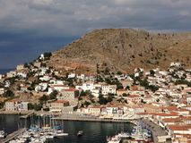 Hydra Island, Greece. Hydra Island, Marina, view from the Stock Photos