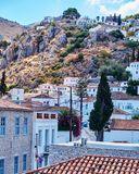 Hydra island Greece, picturesque view of the old town. On the mountain slopes Royalty Free Stock Photography