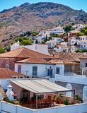 Hydra island Greece, picturesque view of the old town. On mountain cleef Stock Photography
