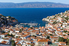 Hydra island, Greece - top view of city center and yaht marina. Travel. Royalty Free Stock Image